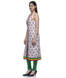 Laabha Women White Cotton Front Slit Cut With Button Flair Kurti