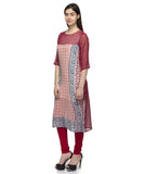 Laabha Women Red Georgette Printed Summer Straight Kurti