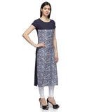 Laabha Women Black Crepe Front Yoke Printed Straight Kurti