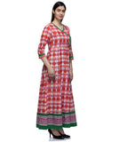 Laabha Women Maroon Cotton Printed Fancy Cord Semi Festive Anarkali Kurti