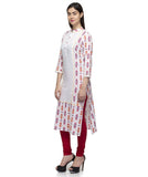 Laabha Women White Cotton Front Panneled With Button Printed Straight Kurti