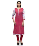 Laabha Women Maroon Cotton Front Button Printed Straight Kurti