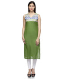 Laabha Women Green Cotton With Printed Yoke Sleeveless Straight Kurti