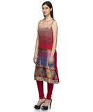 Laabha Women Red Georgette Digitel Printed Sleeveless Straight Kurti
