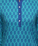 Laabha Women Blue Cotton Front Button With Flaired Bottom Straight Kurti
