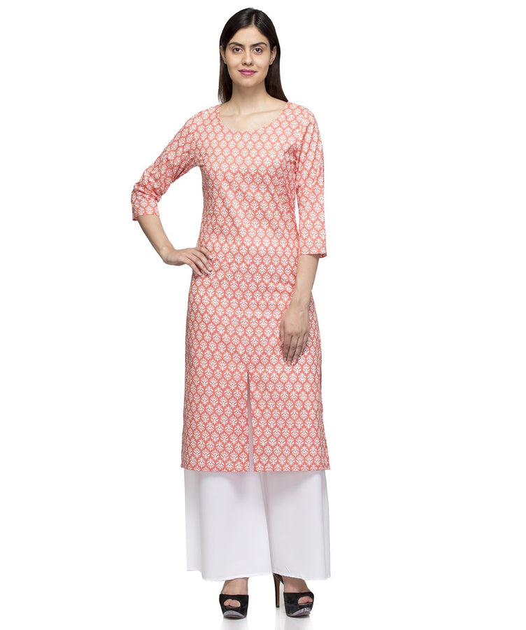Laabha Women Orange Cotton Front Slit Cut Straight Kurti