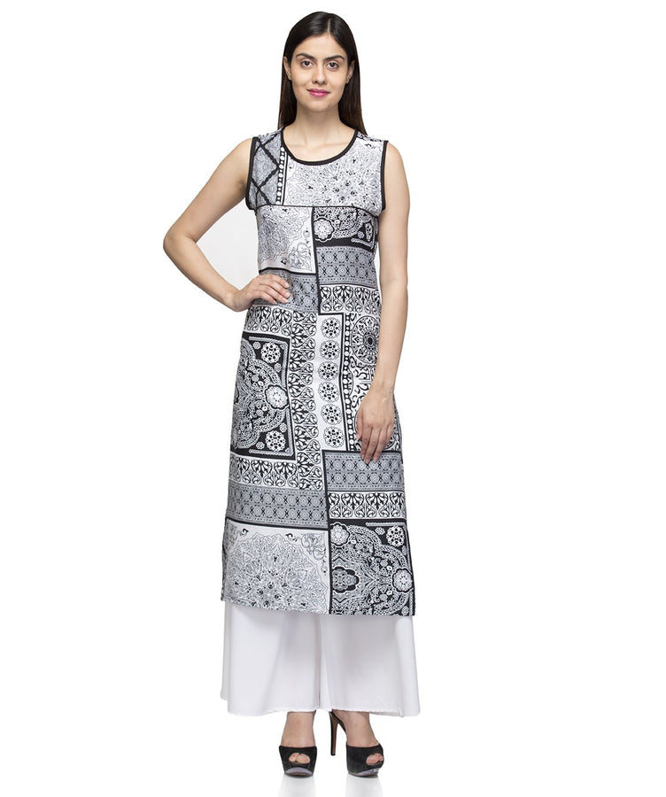 Laabha Women Black Crepe Sleeveless Printed Straight Kurti