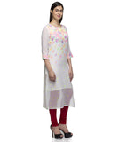 Laabha Women White Georgette Digitel Printed Straight Kurti