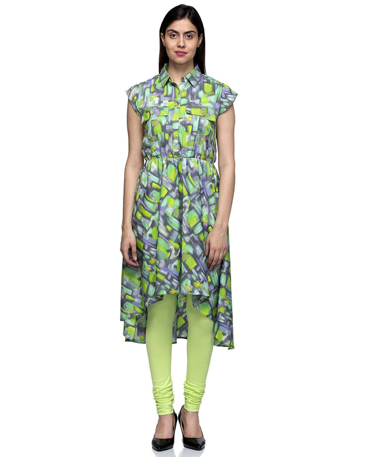 Laabha Women Green Crepe  Front Button & Pockets With Flaired Straight Kurti