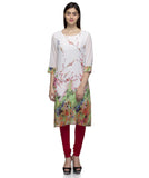 Laabha Women White Georgette Digitel Flower Printed Straight Kurti