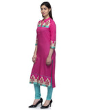 Laabha Women Pink Cotton Front Button With Printed Yoke Straight Kurti