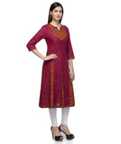 Laabha Women Maroon Cotton Printed Yoke A- Line Kurti