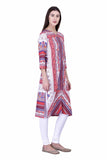 Laabha Women Multicoloured Straght Fit Kurti With Front Slit At Bottom For Ease