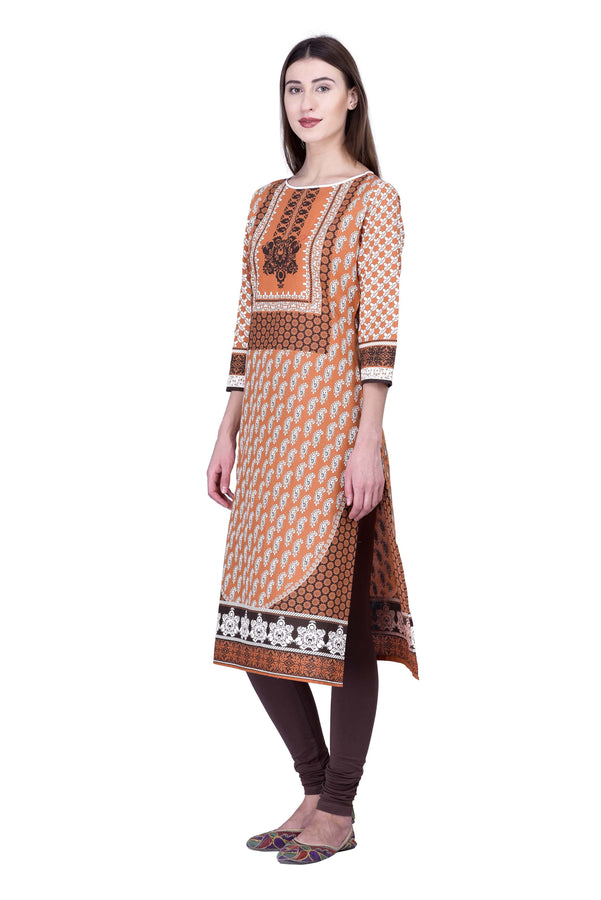 Laabha Women Classic Copper Coloured Self Pannel Printed Straight Kurti