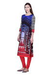 Laabha Women Bright Coloured Self Pannael Printed With Contrast Sleeve Straight Kurti
