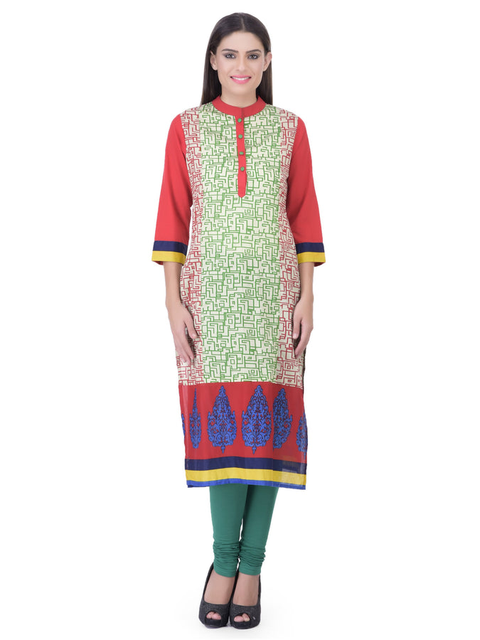 Laabha Women Bright Geometric Printed With Front Placket Straight Kurti