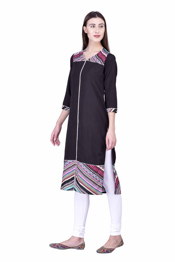 Laabha Women Black Straight Kurti With Front Slit And Printed Trims