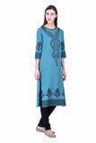 Laabha Women Straight Kurti With Digitally Printed Indian Motif