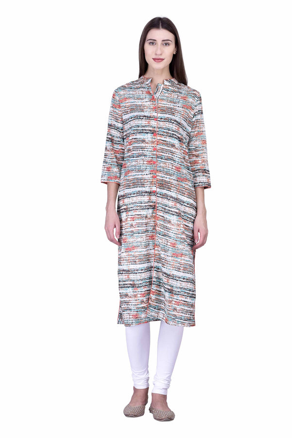Laabha Women Beautiful Printed Straight Kurti  With Front Slit At Bottom For Ease