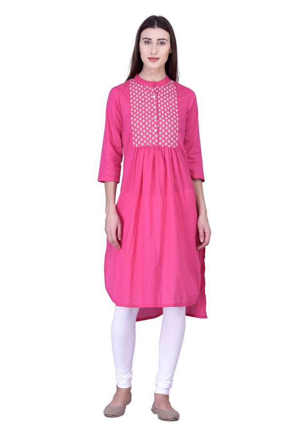 Laabha Women High Low With Round Tipping With Printed Placket Straight Kurti