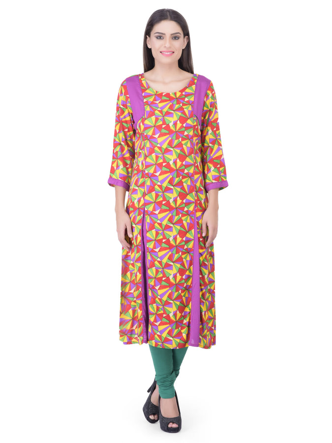 Laabha Women Multicoloured Anarkali Kurta With Solid Trims On Shoulder And Kalis