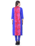 Laabha Women Straight Kurta With Pannael Print And Gota Work On Placket And Sleeve