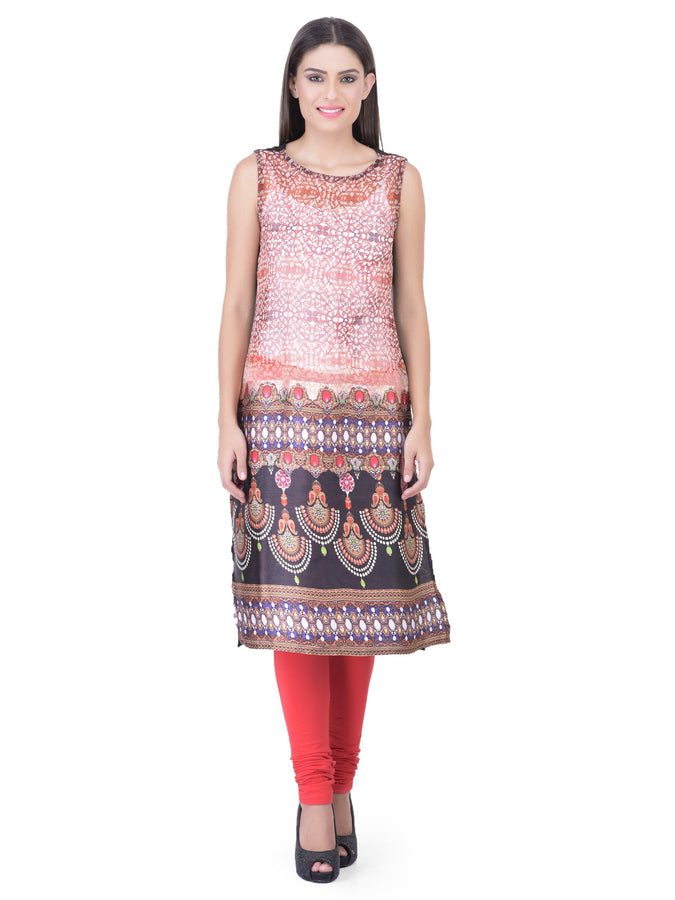 Laabha Women Straight Kurta With Over All Pretty Prints