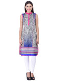Laabha Women Straight Kurta With Abstract Print On Body And Ethnic Print On Bottom