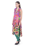 Laabha Women Straight Kurta With Bright Over All Print And Jacket Collar