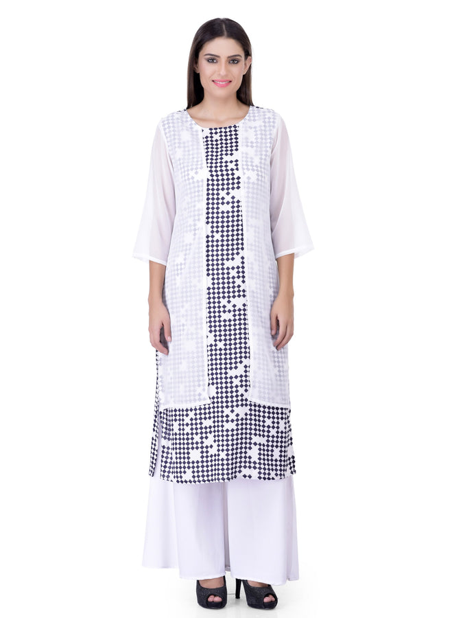 Laabha Women Straight Kurta With Checkers Print Base And White Chiffon Pannel As Drape