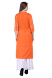 Laabha Women's Cotton Orange Solid Kurta