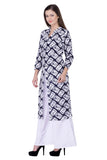 Laabha Women's Cotton Blue Printed Kurta