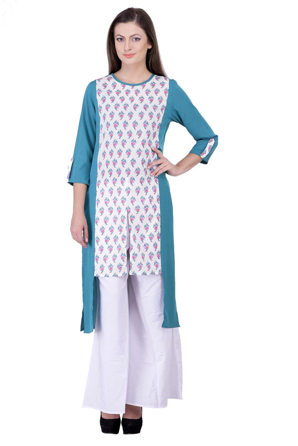 Laabha Women's Cotton Green Floral Kurta