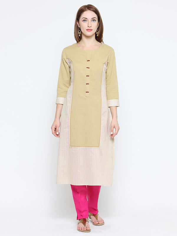Laabha Women'S Front Panneled Stratight Kurti With Embalishment