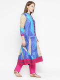 Laabha Women'S Printed Panneled A Line Kurti With Embalishment