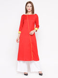Laabha Women'S Front Fancy Button Straight Kurti