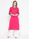 Laabha Women'S Front Button With Embellished Straight Kurti