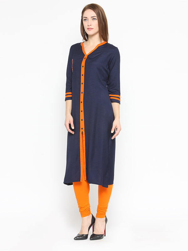 Laabha Women'S Front Button Full Slit With Embellished Straight Kurti