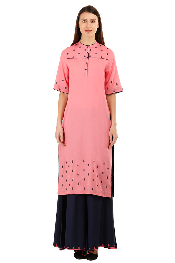 Laabha Women'S V Neck Front Embellished Straight Kurti