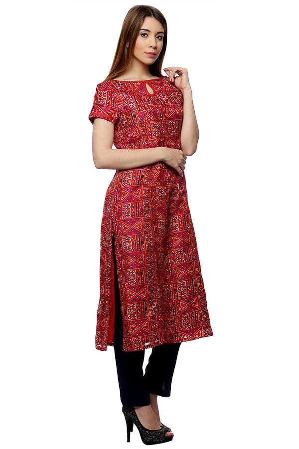Laabha Women'S Front Key Hole Slit Cut Straight Kurti