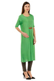 Laabha Women'S Fancy Yoke With Front Button & Tussel Straight Kurti