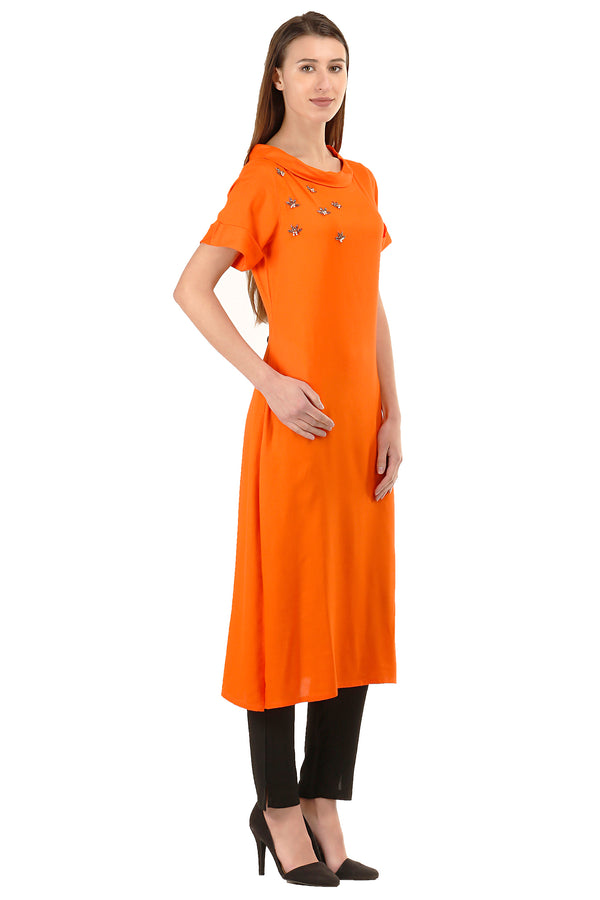 Laabha Woman'S Front Embellished Straight Kurti