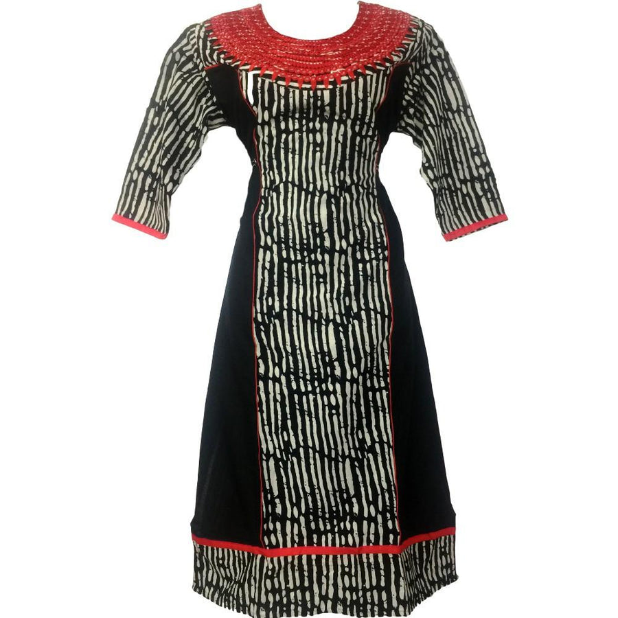 Designer Neck Black Printed Kurti