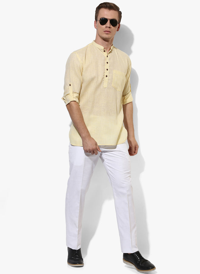 Men's Yellow Casual Kurta