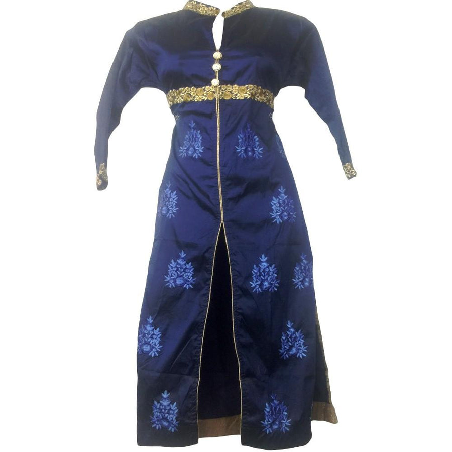 Navy Blue Silk Mirror Kurti