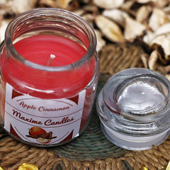 Maxime Candles Apple Cinnamon Scented 2.6 Oz Highly Scented Jar Candle - Valentine Gift