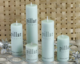 Unscented Sea Green Pillar Candles - Gift Set of 5