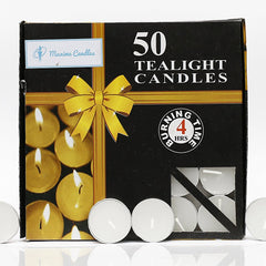 Set of 50 Unscented Tealight Candles
