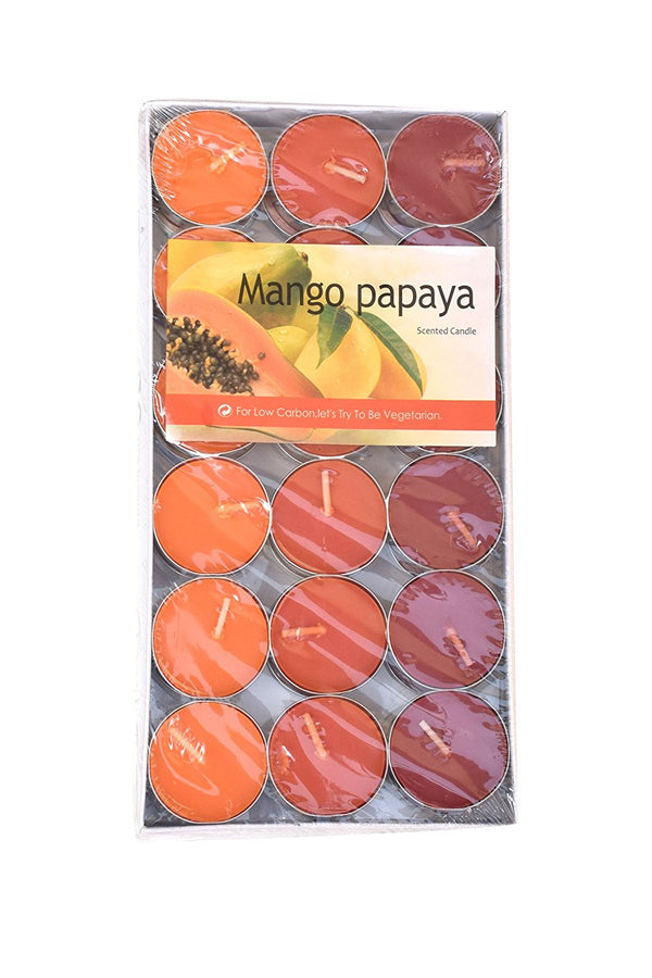 Scented Candle @ Nuvokart Set of 36 Scented Tea Lights Smokeless T Light Candles Mango Papaya Scented Wax Candle ( FragrancedT Lights Yellow Candle Festive Decor Diwali Candle ) - Low Carbon Candle