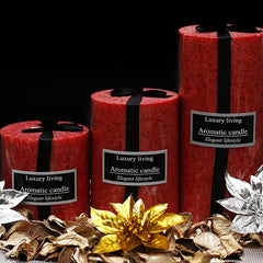 Premium Rose Scented Marble Pillar Candle Set - Set of 3